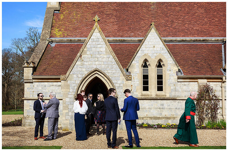 guests and Bishop outside Royal Chapel Windsor Great Park