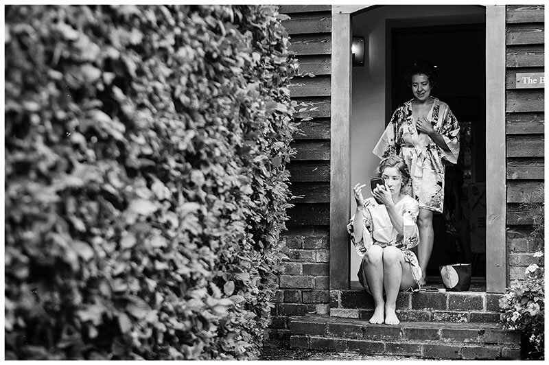 Bridesmaids outside in Kimonos getting ready