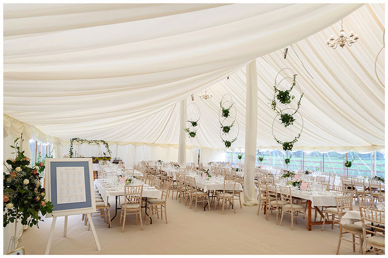 Interior of marquee at Chrishall Cambridgeshire Village Wedding