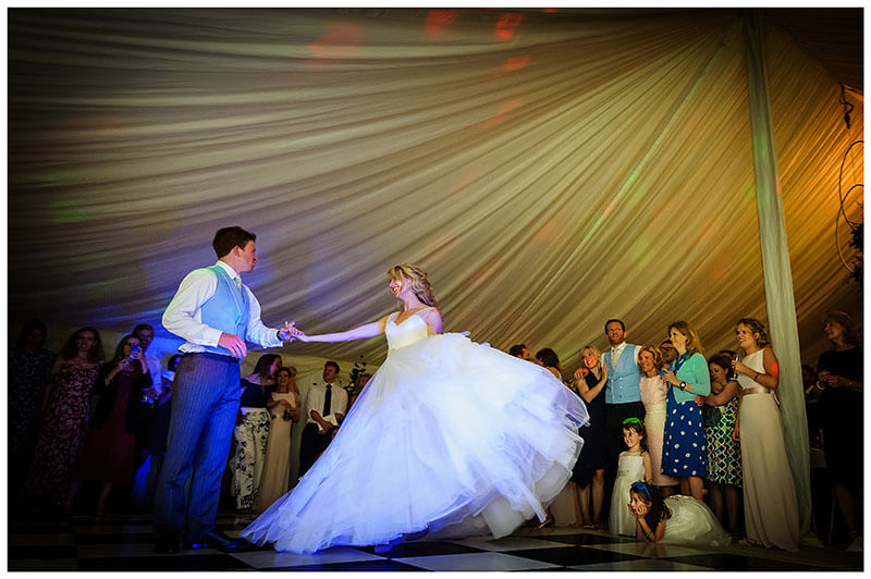 Cambridgeshire Village Wedding in a marquee bride groom first dance