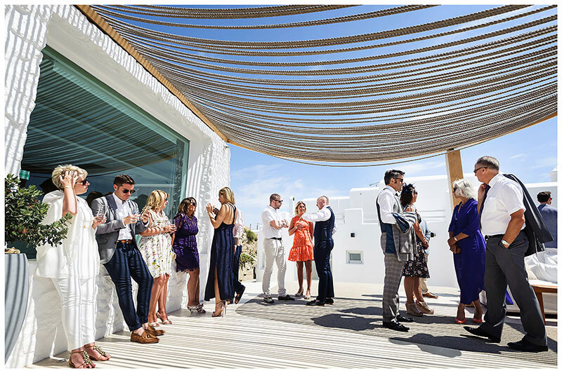 Weddign guests under rope canopy at Andronikos Boutique Hotel Mykonos reception