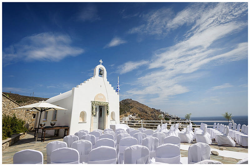 White chapel at Royal Myconian Resort Mykonos ready for a wedding ceremony
