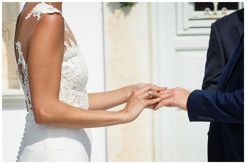 Bride placing wedidng ring on grooms finger