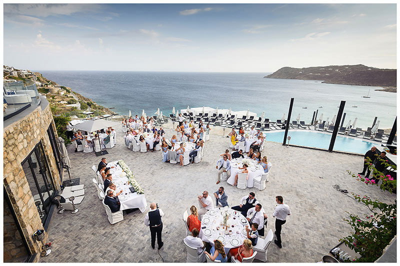 Wedding reception over looking the sea from Royal Myconian Resort