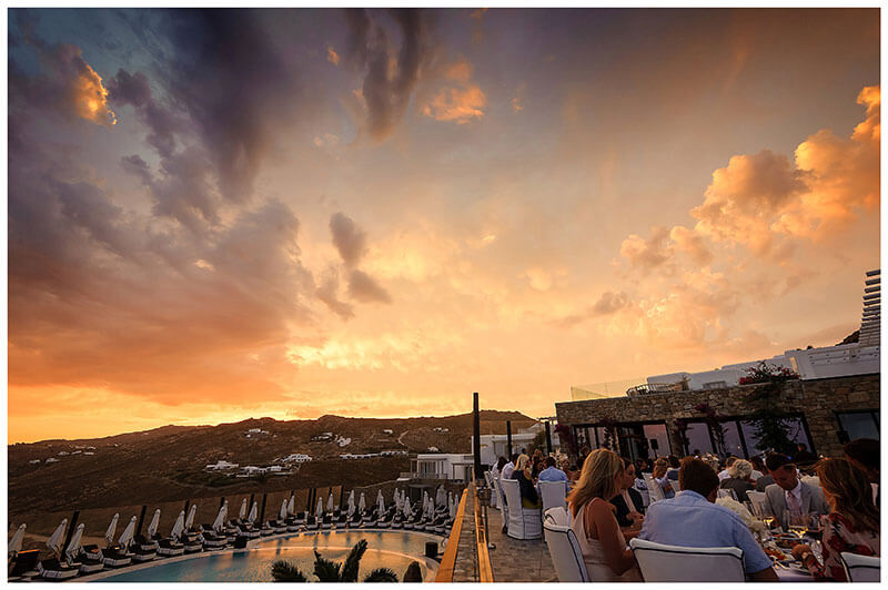 Sunset during Royal Myconian Resort wedding reception