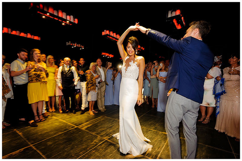 Bride groom first dance during Royal Myconian Resort wedding reception