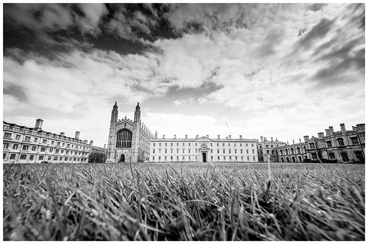 Kings College Cambridge viewed across the lawn from low down favourite wedding photography 2018
