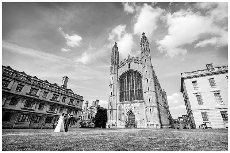 Bride groom walk past Kings College Chapel Cambridge favourite wedding photography 2018