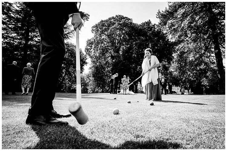 Kids playing croquet at wedding reception Island Hall Cambridgeshire favourite wedding photography 2018