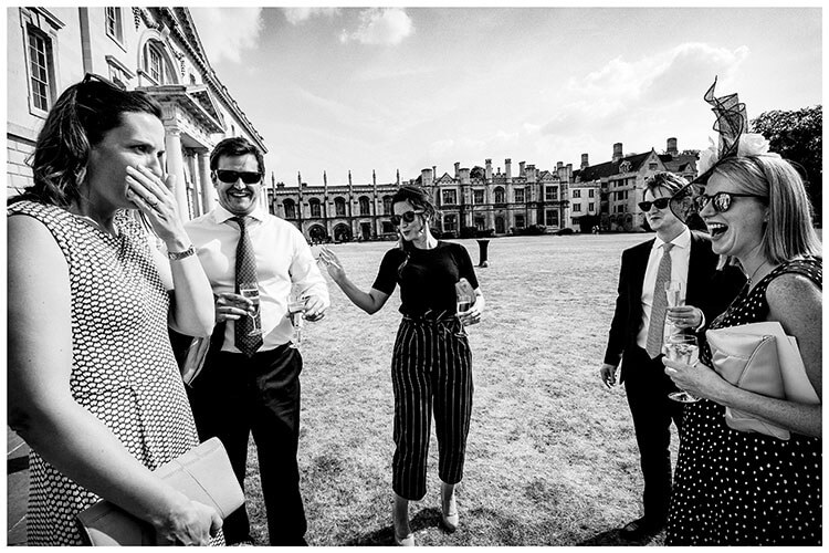 Wedding guests in Kings College Gardens during wedding reception favourite wedding photography 2018