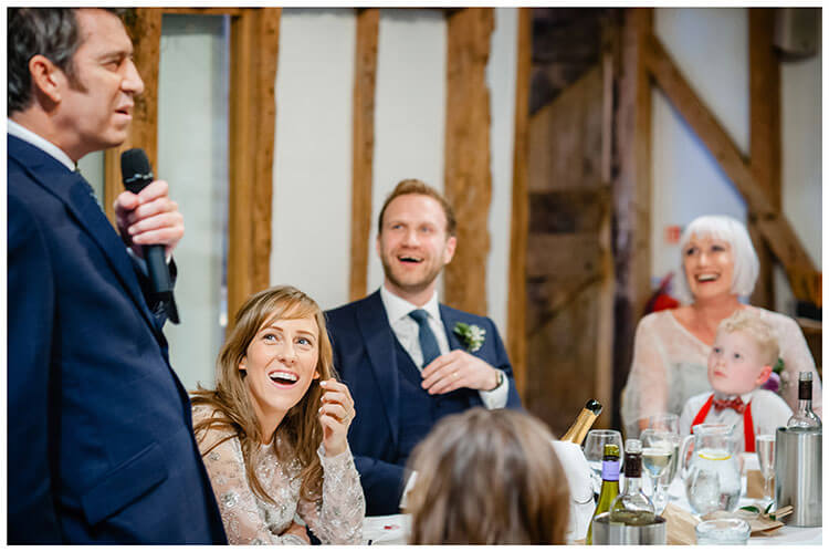 Laughter during father of the brides speech at South Farm Barn wedding venue favourite wedding photography 2018