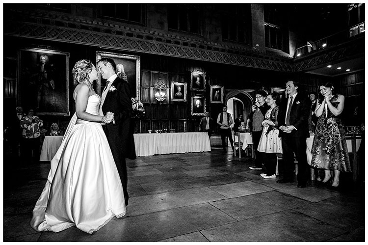 Bride grooms first dance at kings College Cambridge watched by guests favourite wedding photography 2018