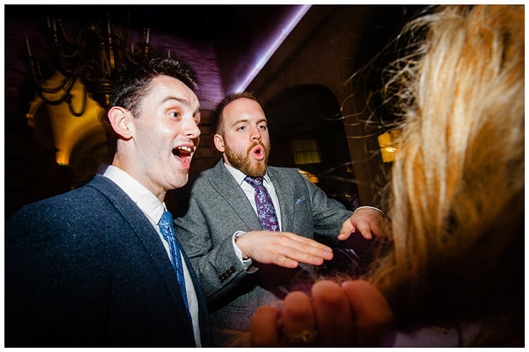 Pulling faces on the dance floor Charsworth house wedding reception 2018