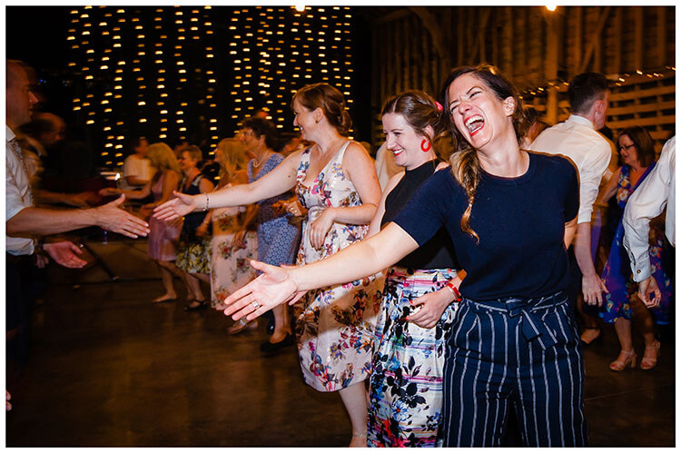 Laughing guests during Cèilidh dancing favourite wedding photography 2018